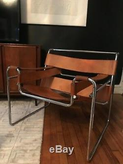 Milieu Du Siècle Moderne En Cuir Brun & Chrome Marcel Breuer Wassily Lounge Chair
