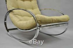 Milieu Du Siècle Moderne Renato Zevi Selig Ellipse Milo Baughman Chrome Rocking Chair