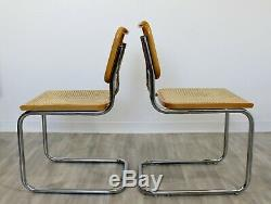 Milieu Du Siècle Moderne Set 4 Marcel Breuer Canne Cantilever Chaises Side Chrome Italie