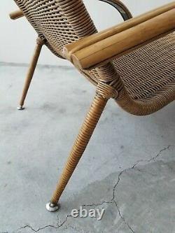 Milieu Du Siècle Sculptural Italienne Moderne Et De Canne En Bambou Chaise Lounge Chair