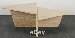 Minimaliste Milieu Du Siècle Moderne À Deux Niveaux Marbre Travertin Table Basse, 1980