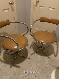 Modèle De Vinture 1970 Style Italien 2 Chrome Chairs Vinyl Dining Stoppino Era