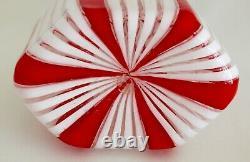 Murano A Verticale Rouge Et Canne Blanc Art Bouteille En Verre Decanter & Stopper MCM