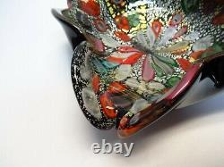 Murano Art Verre Bowl Ash Tray Noir Casé Pliéfiole D'argenttutti Frutti