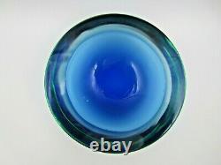 Murano Da Ros Cenedese Barbini Géode Bleu Dans Bol En Verre D'art Somerso Vert