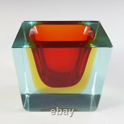 Murano Faceted Red, Amber & Blue Sommerso Glass Bowl