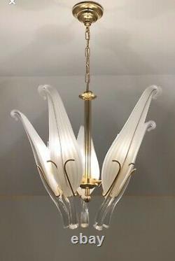 Murano Franco Luce Seguso Art Glass Chandelier Italien Laiton Dorothy Draper Era