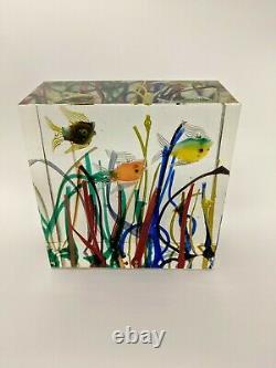 Murano Glass 3 Aquarium De Poisson Bloc