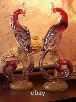 Murano Glass Birds Of Paradise 14.5, Peacock Pair, Alfredo Barbini 1950's Italie