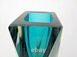 Murano Gotham Sommerso Facettes Bloc Vert Ambre Bleu Vintage