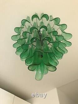Murano Italien Venetian Art Glass Mazzega Emerald Green Chandelier MCM Italie