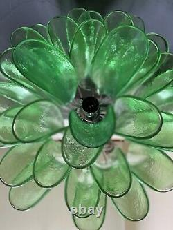 Murano Italien Vénitien Art Verre Mazzega Emerald Vert Chandelier MCM Italie 21