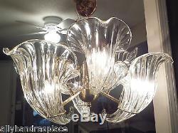 Murano Lustre Cornucopia Italienne Crystal Clear Calla Lily Brass Vintage