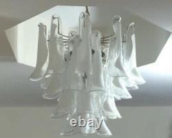 Murano Palm Beach Italien Lattimo Art Glass Mazzega White Chandelier MCM