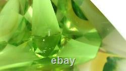 Murano Pomme Vert Ambre Somerso Facetté Triangulaire Bol En Verre D'art Flavio Poli