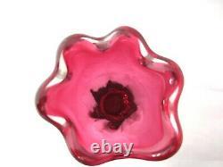 Murano Sommerso/chribska Vase En Verre Rose Foncé Haut Et Lobed Lourd