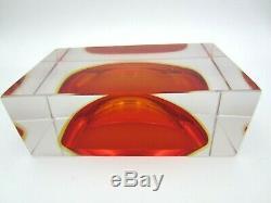 Murano Superbe Sommerso Rouge Dans L'ambre Bol Bloc De Briques Facettes