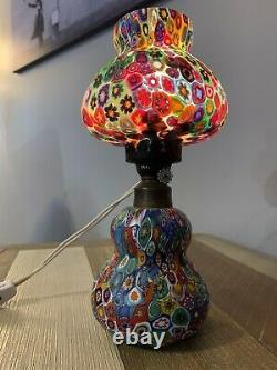 Murano Vénitien Italien Millefiori Lampe Antique Vintage Fratelli Toso- Rare -wow