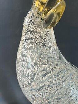 Murano Verre Forma Italie Bird Or Sulfur Crested Parrot Argent Flake Vtg Tags