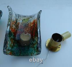 Pair Barbini Afredo Sconces Fish Tank Murano 1950 Vintage Art Glass Cenedese