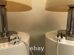 Paire De 1970 Vintage Italien Chrome & Perspex Prova Mushroom Lampes De Table Par Bhs