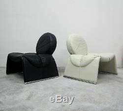 Paire De Cuir Noir Et Blanc Chaises Vintage Italian Lounge