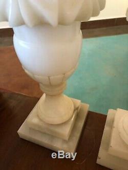 Paire De Deux 2 Italien Albâtre Carving Sculpté Lampes Art Déco Moderne Milieu Du Siècle