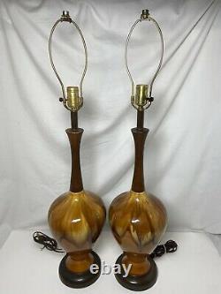 Paire De Lampes De Table Modernes Vintage De Goutte À Goutte De Goutte À Goutte De Céramique De Mi-siècle