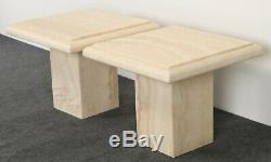 Paire De Roche Bobois Italian Style Travertin Milieu Du Siècle Moderne Side End Tables
