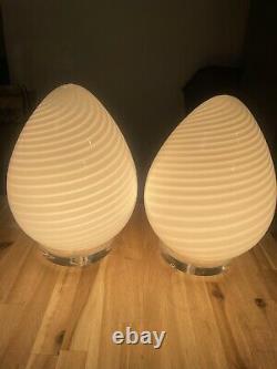 Paire De Vetri / Maestri Murano White Swirl 12italian Glass Egg Lamp 60's70's