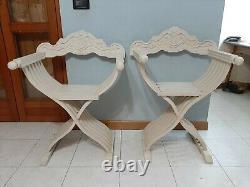 Paire De Vintage Antique Italienne 70s Chaise En Bois Pliante Savonarola