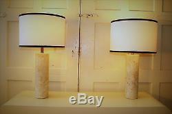 Paire De Walter Von Nessen Cylindrique Italienne Lampes De Table En Marbre