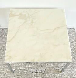Paire Florence Knoll Italien Carrara Marble Table D'appoint Eames Era Du Milieu Du Siècle