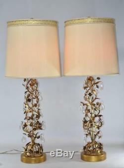Paire Milieu Du Siècle Moderne Marbro Italienne Tole Gilt Cristal Floral Vigne Lampes