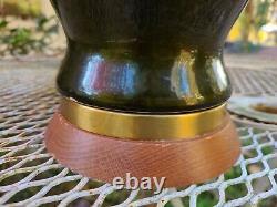 Paire Vtg MID Century Modern Green Ceramic Glaze Table Lamps Art Déco Sculptural