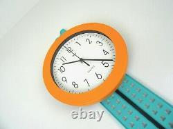 Postmodern Années 80 Vinture Memphis Sottsass Pendulum Wall Clock Par Mebus