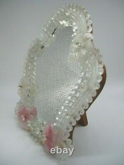 Pretty Vintage Venetian Murano Glass Table / Wall Vanity Mirror Milieu Du 20ème Siècle