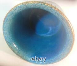 Rare MID Century Modern Aldo Londi Bitossi Italie Safety Pin Vase Bowl Lava Blue