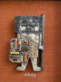 Rare Marcello Fantoni Italien Brutalist Caveman Pottery Art Wall Tile MCM Vtg