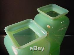Rare Paire Cenedese Chartreuse Opaline Tang Style Mantle Vases Murano Eames Era