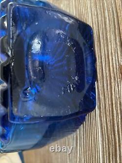Rare Vintage Empoli Blue Glass Sunburst Decanter Bouteille Tynell Style Italie