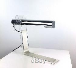 Rare Vintage Italian Tubular Chrome Lucite Table Lampe De Bureau Milieu Du Siècle Moderne