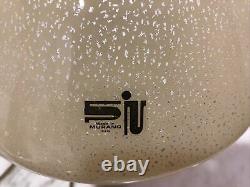 Rare Vtg MID Century Italie Murano Beige Or Moucheté Art Glass Mushroom Table Lamp