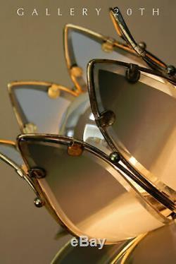 Régence! MID Century Modern 3-ombre Laurel Lotus Lampe De Table! 1960 Italie Vtg