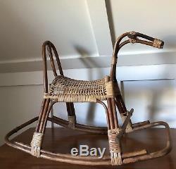 Réservé -mid Siècle Franco Albini En Rotin Et Osier Rocking Chair Cheval Italienne