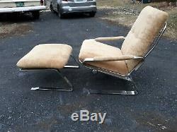 Rs Associates, Rare, De Haute Qualité, Chrome Chaise Longue Et Pouf, Bien Originale