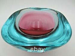 Seguso Geode Rose - Bleu Glace - Uv Lueur Plat Haut D'art Bol En Verre Murano Sommerso
