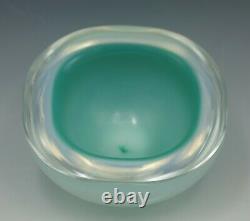 Seguso Murano Verre Opaline Casé En Verre Geode Bowl Turquoise Et Bleu