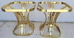 Set De 2 Tables Latérales En Verre En Laiton Sculptural Style Milo Baughman MCM