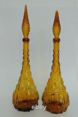 Set De 2 Vtg Amber Empoli Verre De Génie Bouteille De Décanter Fabriqué En Italie Avec Bouchon